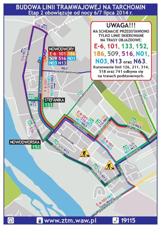 Schemat zmian w komunikacji miejskiej ZTM