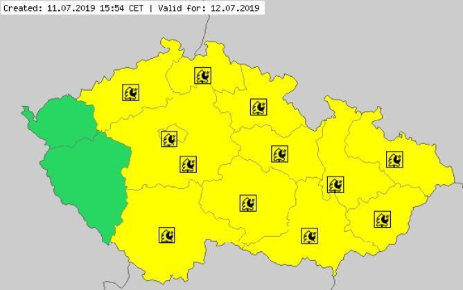 Ostrzeżenia meteorologiczne dla Czech (meteoalarm.eu)