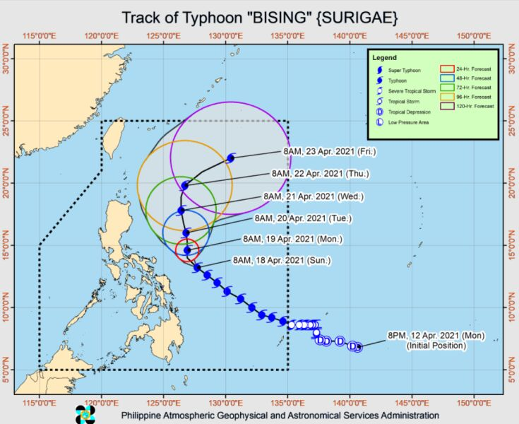 Prognozowana trasa przejścia tajfunu Surigae (PAGASA)