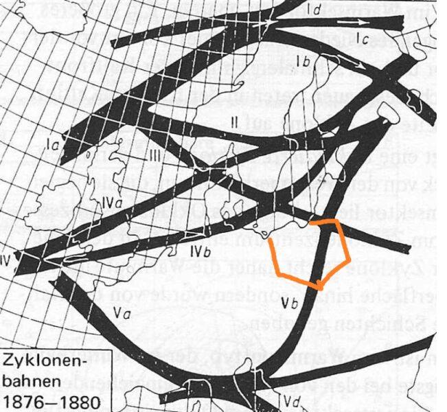 Szlaki niżów i powodziowy szlak niżów śródziemnomorskich wg Wilhelma Jakoba Van Bebbera