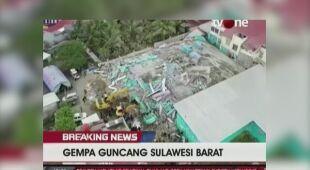 Widok z drona na zniszczenia po trzęsieniu ziemi
